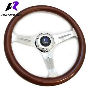 350mm 6 Bolt Classic Wood Grain Chrome 3 spoke Steering Wheel horn For Buick