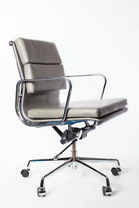 Vintage Grey Leather Soft Pad Office Desk Chair Swivel Aluminium Frame Low Back