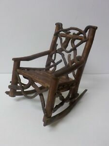 Vintage Hand Crafted 9 25 Doll S Country Primitive Twig Rocking Chair 4