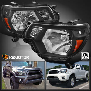 For 2012 2015 Toyota Tacoma Black Headlights Pickup Factory Replacement L R