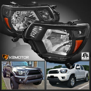 For 2012 2015 Toyota Tacoma Pickup Black Headlights Lamps Replacement L r 12 15