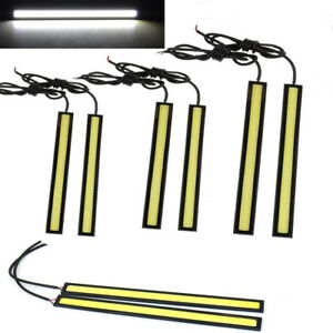 6x Waterproof 12v Led Cob Car Drl Driving Daytime Running Lamp Light Bar Strips