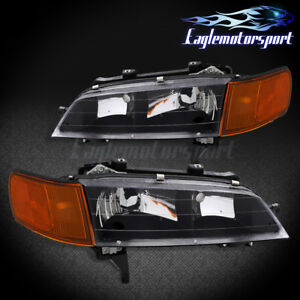 1994 1995 1996 1997 Honda Accord Sedan Coupe Factory Style Black Headlights Set