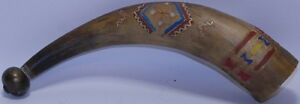 Antique Hand Carve Native American Brass Tribal Primitive Powder Horn Powderhorn