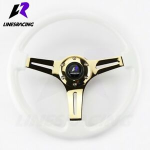 350mm 6 Hole White Wood Grain Gold Chrome Steering Wheel horn For Buick