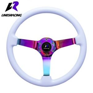 14 White Wood Grain Steering Wheel 6 Bolt 3 Dish Neon Chrome Horn For Honda