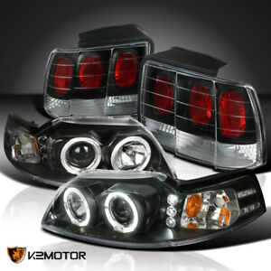 Black 1999 2004 Ford Mustang Projector Headlights rear Brake Lamps Tail Lights