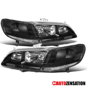 For Honda 98 02 Accord 2dr 4dr Pair Black Clear Headlights Lamps Left Right