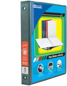 1 Inch Green 3 ring View Binder With 2 pockets Pack Of 12