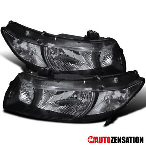 Fits 2006 2011 Honda Civic 2dr Coupe Pair Black Headlights Left right