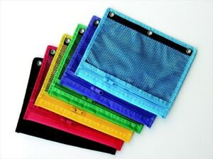 Mesh Zippered Binder Pocket For Three Ring Binders 8 25x10 5 Assorted Pack 12