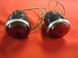 1937 Ford Tail Light Assembly In Black 1 Pair With 12 Volt Bulbs Stop And Turn