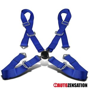 4 Point 4pt Camlock Safety Harness Racing Seat Belt Blue