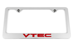 Honda Vtec Chrome License Plate Frame Red Logo Civic Accord Fit S2000
