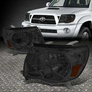 For 2005 2011 Toyota Tacoma Pickup Smoked Housing Amber Side Headlight Lamp Set