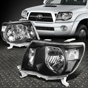 For 2005 2011 Toyota Tacoma Pickup Black Housing Clear Side Headlight Lamp Set