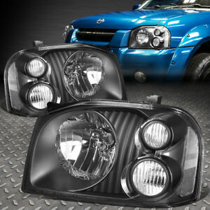 For 2001 2004 Nissan Frontier Pair Black Housing Clear Side Headlight Lamp Set