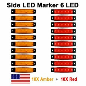 10x Red 10x Amber 12v 6 Smd Side Truck Trailer Boat Led Marker Rear Light Us