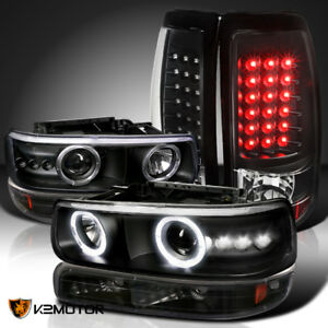 Black 99 02 Chevy Silverado Halo Projector Headlight bumper Lamp led Tail Lights
