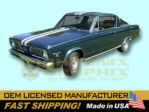 1966 Plymouth Barracuda Over Roof Stencil Or Vinyl Decals Stripes Kit