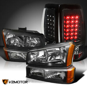 2003 2006 Chevy Silverado Black Headlights bumper Lamps led Tail Lights