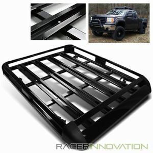 55 Black Aluminum Car Suv Truck Travel Roof Luggage Carrier Rack Cargo Basket