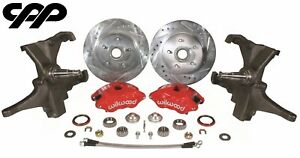 58 64 Chevy Impala Belair Wilwood D52 12 Disc Brake Conversion Drop Spindle Kit