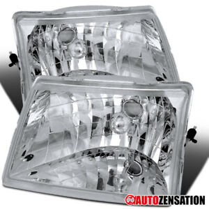 For 1998 2000 Ford Ranger Ev Xl Xlt Clear Lens Headlights Lamps Pair Left Right