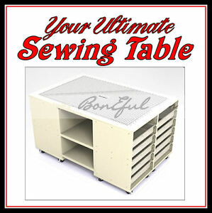 Boneful New Sewing Room Machine Serger Decor Cutting Table Fabric Quilt Storage