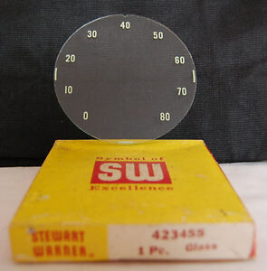 Vintage Nos Sw Stewart Warner Speedometer Gauge Dial Replacement Glass 423455