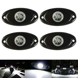 4x White Cree Chips Led Rock Light For Jeep Offroad Truck Boad Under Body Light