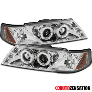 For 95 98 Nissan Sentra 200sx Clear Halo Rims Projector Headlights smd Led Drl