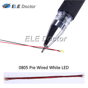 100pcs 0805 2012 White Light Smd Pre wired Led Diodes Soldered 20cm Length Lamp