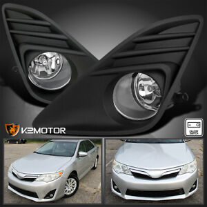 For 2012 2014 Toyota Camry Clear Bumper Driving Fog Lights wiring switch Set