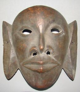 Antique Vintage African Wood Wooden Face Head Mask Carved Ethnographic Chinese
