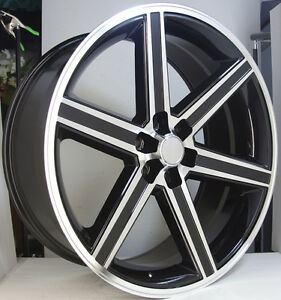 24 Iroc Black Machined 6 Lug Wheel Set 24x10 Irocs 6x139 7 Classic Chevy Rims