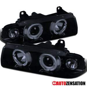 92 98 Bmw E36 3 series 2dr 4dr Halo Glossy Black Projector Headlights Pair Lamps
