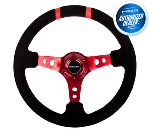 Nrg Reinforced Steering Wheel Rst 016s Rd 350mm Deep Dish Red Black Suede