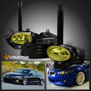 For 08 10 Honda Accord 2dr Coupe Yellow Bumper Fog Lights Driving Lamps Switch