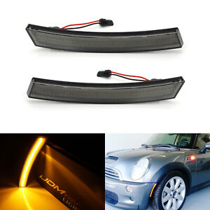 Euro Smoked Lens Amber Led Front Side Marker Lights For 2002 08 Mini Cooper