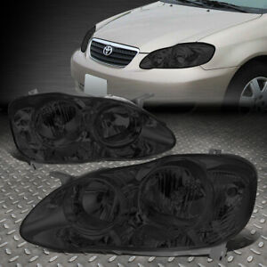 For 03 08 Toyota Corolla Smoked Housing Clear Corner Headlight Replacement Lamps