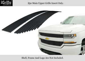 Fits 2016 2018 Chevy Silverado 1500 Reg Model Stainless Black Billet Grille
