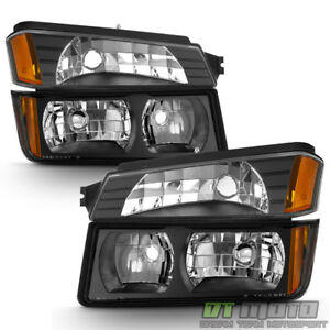 Black Headlights Parking Lamps For Body Cladding Model 2002 2006 Chevy Avalanche