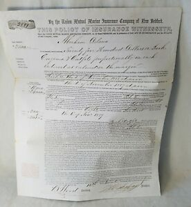 1855 Insurance Policy Whaling Ship Bark Eugenia Out Of Bedford Mass No Reserve