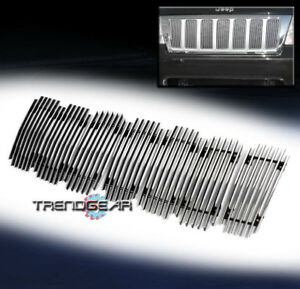 For 1999 2004 Jeep Grand Cherokee Upper Hood Billet Grille Grill Insert Vertical