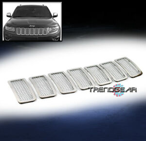 For 2011 2013 Jeep Grand Cherokee Upper Wire Mesh Grille Grill Insert Chrome 7pc