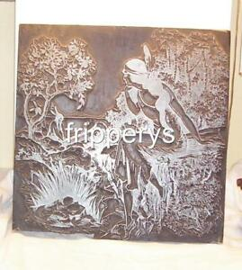 Vintage Printers Block Plate Calendar Press Indian Maiden Native American Braves