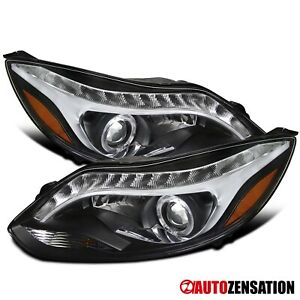 For 2012 2014 Ford Focus R8 Led Drl Black Halo Rim Projector Headlights Lamps