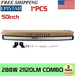 50inch 288w Curved Led Work Light Bar Flood Spot Offroad 4wd Ute Jeep Truck Slim