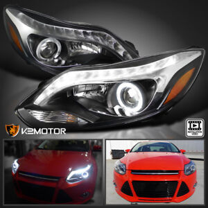 Black 2012 2014 Ford Focus Halo Led Strip Projector Headlights Left Right